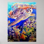 Tortuga y filón de mar verde poster