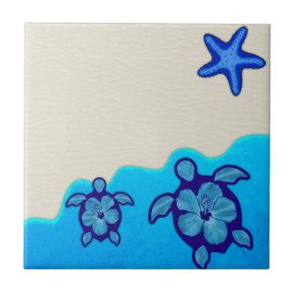 Tortugas azules de Honu Azulejo Cuadrado Pequeño