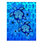 Tortugas azules Tiki de Honu del hibisco Tarjeta Postal