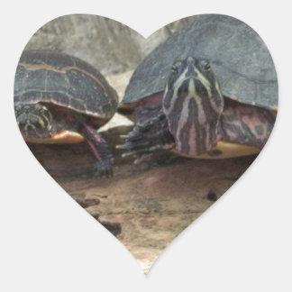 Tortugas de Chillaxing Pegatina En Forma De Corazón