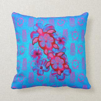 Tortugas de Honu y flores tropicales del hibisco Cojín