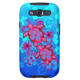 Tortugas de Honu y flores tropicales del hibisco Galaxy SIII Coberturas