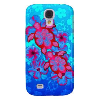 Tortugas de Honu y flores tropicales del hibisco Funda Para Galaxy S4