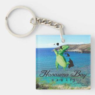 Tortugas de la bahía de Hawaii Hanauma Llavero Cuadrado Acrílico A Doble Cara