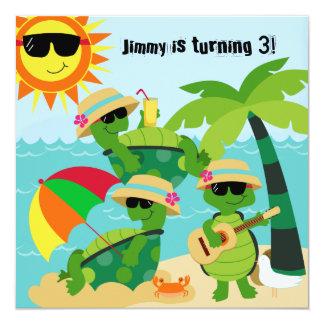 """Tortugas de la playa del verano que nadan la invitación 5.25"""" x 5.25"""""""