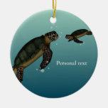 Tortugas de mar adorno navideño redondo de cerámica