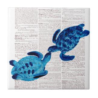 Tortugas de mar azules en amor azulejo cuadrado pequeño