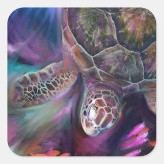 Tortugas de mar del Caribe Pegatina Cuadrada