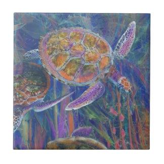 Tortugas de mar místicas azulejo cuadrado pequeño