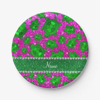 Tortugas de mar rosadas de neón conocidas plato de papel de 7 pulgadas