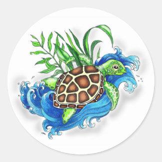 Tortugas de mar tropicales etiqueta redonda