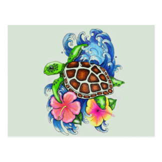 Tortugas de mar tropicales postales