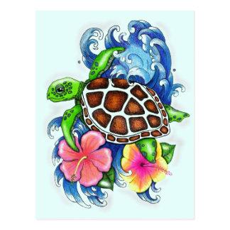 Tortugas de mar tropicales tarjeta postal