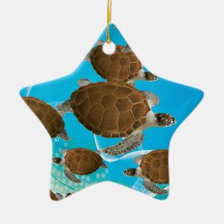 Tortugas de mar verde asombrosas adorno de navidad