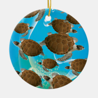 Tortugas de mar verde asombrosas ornamento para arbol de navidad