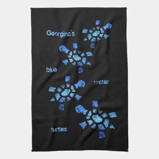 Tortugas del agua azul toallas de mano