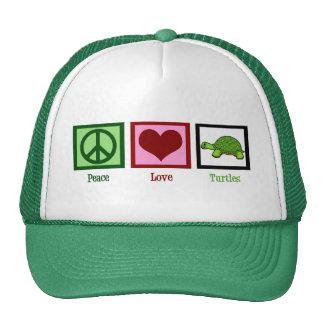 Tortugas del amor de la paz gorros bordados