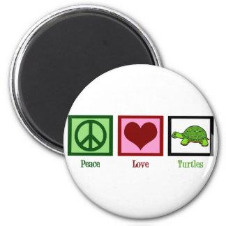 Tortugas del amor de la paz imán redondo 5 cm
