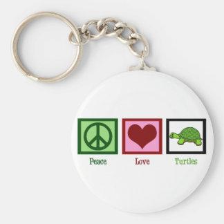 Tortugas del amor de la paz llavero redondo tipo pin