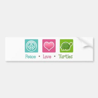 Tortugas del amor de la paz pegatina para auto