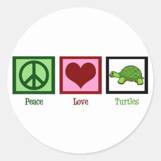 Tortugas del amor de la paz pegatina redonda