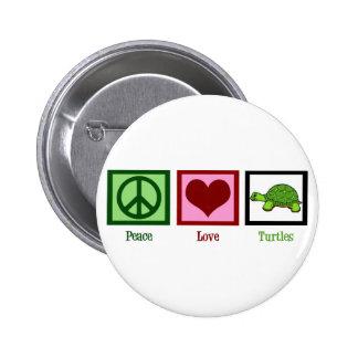 Tortugas del amor de la paz pin redondo de 2 pulgadas