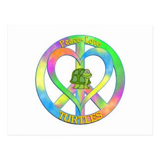 Tortugas del amor de la paz postales