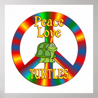 Tortugas del amor de la paz póster