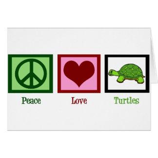 Tortugas del amor de la paz tarjeta de felicitación