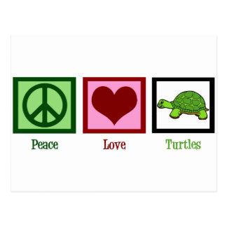 Tortugas del amor de la paz tarjetas postales