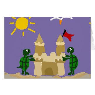 Tortugas divertidas del bebé que construyen el tarjeta de felicitación