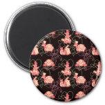 Tortugas lindas negras y modelo rosado iman de nevera