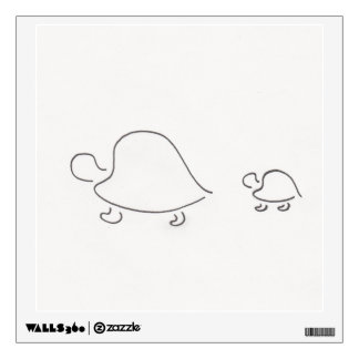 Tortugas - mamá y bebé - arte de la pared vinilo adhesivo