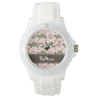 Tortugas personalizadas del amor de la paz reloj de mano