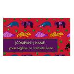 Tortugas púrpuras abstractas de los animales y tarjetas de visita