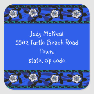 tortugas y hibisco pegatina cuadrada