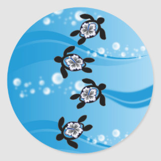 tortugas y hibisco pegatina redonda
