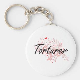 Torturer Artistic Job Design with Butterflies Basic Round Button Keychain
