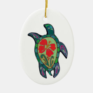 Tortus Hibiscus Ceramic Ornament
