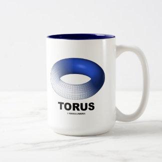 Torus (Blue Toroid Topology) Two-Tone Coffee Mug