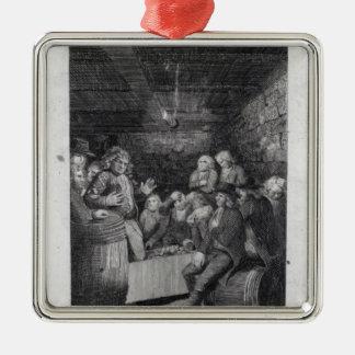 Tory Pandemonium, from John Trumbull's Square Metal Christmas Ornament
