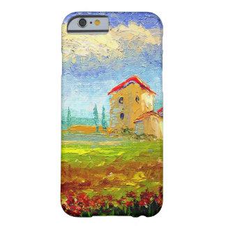 Toscana HIlside con las amapolas Funda De iPhone 6 Barely There