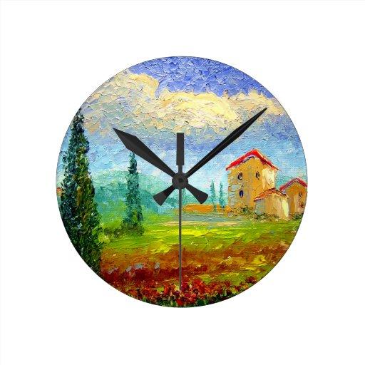 Toscana HIlside con las amapolas Reloj Redondo Mediano