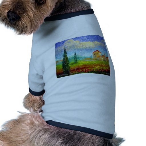 Toscana HIlside con las amapolas Camiseta Con Mangas Para Perro