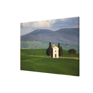 Toscana, Italia, d'Orcia de Val, Pienza, capilla d Impresión En Lienzo Estirada