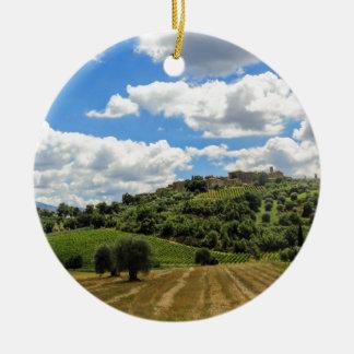 Toscana, paisaje panorámico - Italia Adorno Navideño Redondo De Cerámica