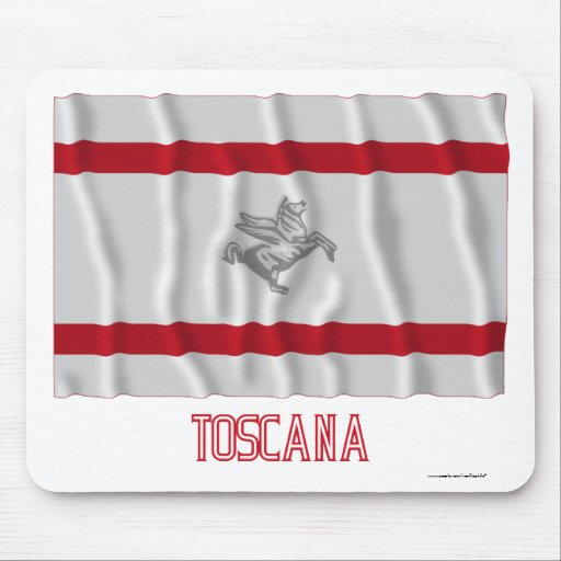Toscana waving flag with name mouse pads
