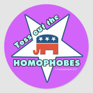 Toss Out the Republican Homophobes! Classic Round Sticker