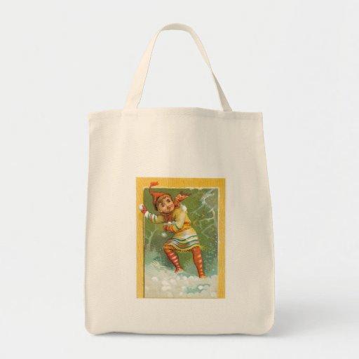 Tossing Snowballs Canvas Bags