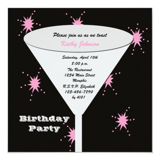 """Tostada adulta de la fiesta de cumpleaños para su invitación 5.25"""" x 5.25"""""""